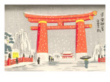 Japanese Illustration  Torii Gate in Snow