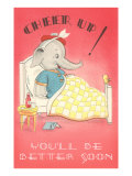 Cheer Up  Cartoon Elephant in Bed