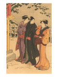 Japanese Woodblock  Three Women in Snow