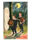 Halloween Greetings  Children with Ghost