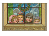 Happy New Year  Children at Window