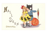 Halloween Greetings  Children with Jack O&#39;Lantern