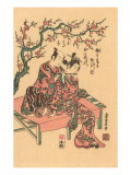 Japanese Woodblock  Man with Flute-Playing Geisha