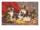 Four Kittens with Saucer and Daisies