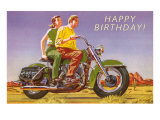 Happy Birthday  Couple on Motorcycle