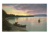 Sunset on the Lake  Canoes