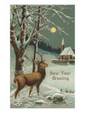 Happy New Year  Elk in Moonlight