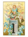 Wishing You a Happy New Year  Victorian Angel  Father Time