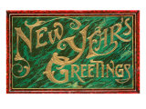 New Year's Greetings  Gold on Green