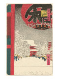 Japanese Woodblock  Temple in Snow