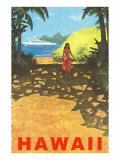 Hawaii  Cruise Liner  Girl on Beach Path