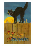 A Happy Halloween  Cat on Fence