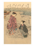 Japanese Woodblock  Japanese Women on Shore