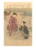 Japanese Woodblock  Japanese Women on Shore