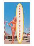 Happy Birthday  Blonde with Long Board