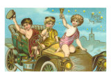 Happy New Year  Children in Old Car