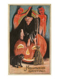 Halloween Greetings  Witch and Jack O&#39;Lantern