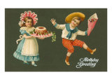 Birthday Greeting  Victorian Children