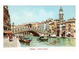 Painting of Rialto Bridge  Venice  Italy