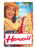 Hawaii  Woman with Frangipani Leis