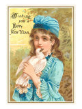 Wishing You a Happy New Year  Victorian Girl with Dove