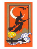 Witch Silhouette with Bat and Jack O&#39;Lantern