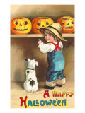 A Happy Halloween  Dog and Boy with Jack O&#39;Lanterns