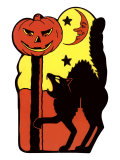 Cat  Jack O&#39;Lantern and Moon