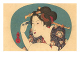 Japanese Woodblock  Lady Plucking Eyebrows