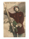 Sun Valley  Idaho  Lady Skier with Leopard Cuffs