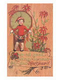 Poinsettias  Boy with Clock and Fruit
