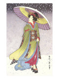Geisha with Umbrella in Snow