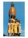 Hawaiian Women with Pineapple Tower