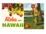 Aloha from Hawaii  Hula Girl and Flowers