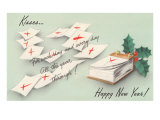 Kisses  Happy New Year  Leaves of Calendar