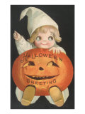 Child in Cap with Jack O&#39;Lantern
