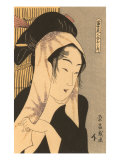 Japanese Woodblock  Woman with Scarf