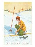 Sun Valley  Idaho  Lady Skier Fixing Bindings