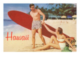 Hawaii  Tourists with Surfboard