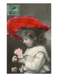 Girl with Red Hat and Rose