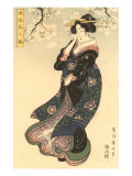 Japanese Woodblock  Woman in Breeze