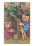 Dressed Kittens Picking Fruit