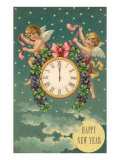 Happy New Year  Victorian Angels with Clock
