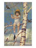 Boy Fairy Playing Flute in Birch Tree