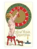 New Year Greetings  Victorian Boy with Clock