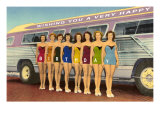 Happy Birthday  Bathing Beauties with Bus