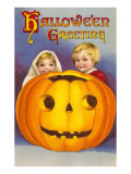 Halloween Greeting  Children with Jack O&#39;Lantern