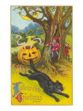 Halloween Greetings  Jack O'Lantern Biting Cat's Tail