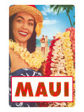 Maui  Hawaiian Lady with Frangipani Leis