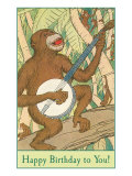 Happy Birthday  Monkey with Banjo